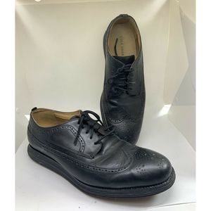 Cole Haan Grand Os Black Leather Wingtip Oxford